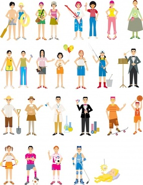 people activities icons colored cartoon characters