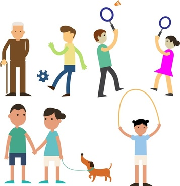people in park icons various activities design