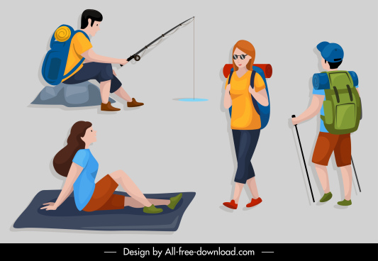 people lifestyle icons picnic relax activities cartoon sketch