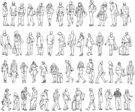 people outline silhouettes vector