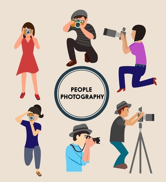 people photography icons various shooting gestures design