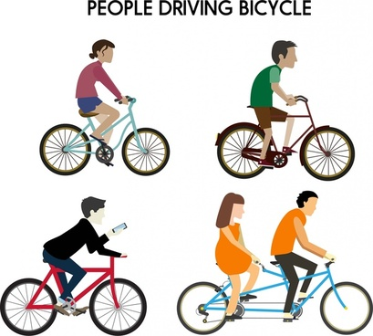 people riding bicycle various types isolation