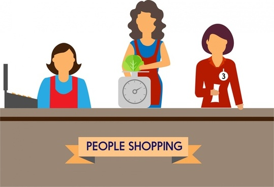 people shopping concept design salesclerk and tools style