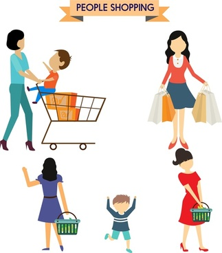 people shopping concepts woman and kids design