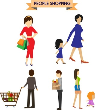 people shopping icons collection in color style