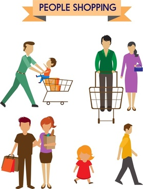 people shopping icons various types in color