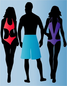 swimsuit fashion background people icons silhouette decor