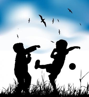 childhood background joyful boys icons silhouette design