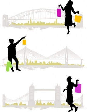 shopping lifestyle icons silhouette design
