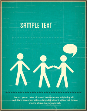 people vintage styles cover vector set