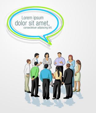 people wit speech bubbles design elements