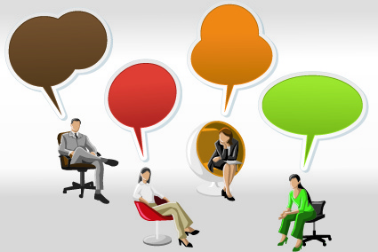 people with speech bubbles design elements