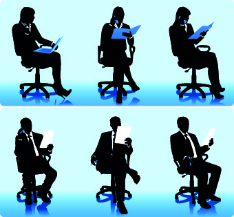 people working silhouettes vector
