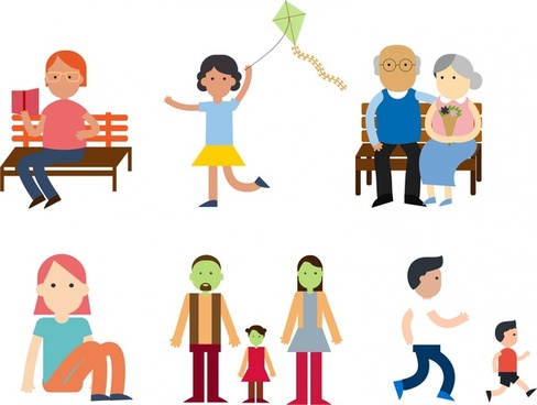 peoples activities in park icons design sets