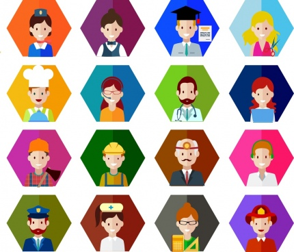peoples careers icons various colored types hexagon isolation