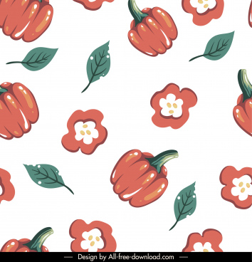 pepper pattern colored classical handdrawn flat repeating sketch