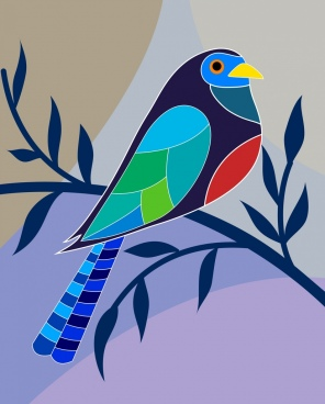 perching bird icon colorful flat decoration