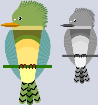 perching bird icon sketch flat design
