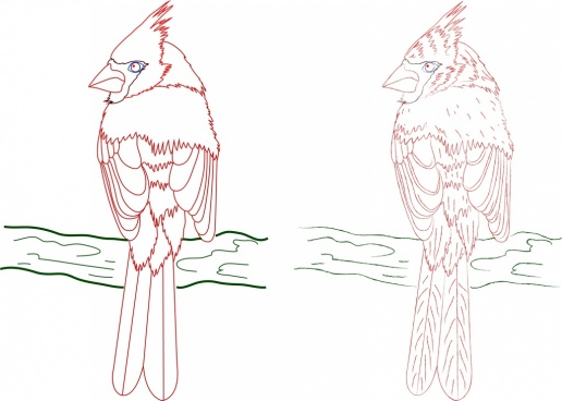 perching bird icons colored hand drawn outline