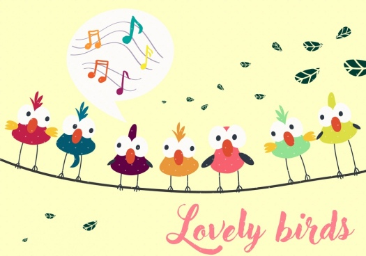 perching birds background multicolored cartoon decor