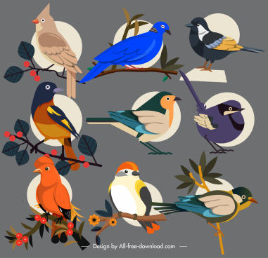 perching birds icons elegant colorful sketch