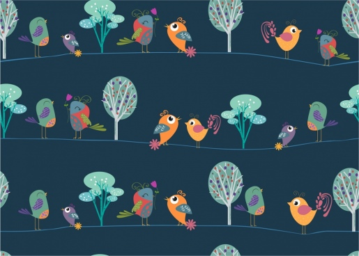 perching birds pattern background repeating cartoon style