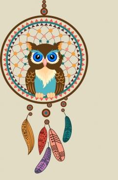 perching owl icon colorful dream catcher decor