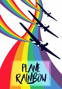 performing planes icons colorful rainbow decoration