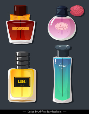 perfume icons flat sketch elegant shapes