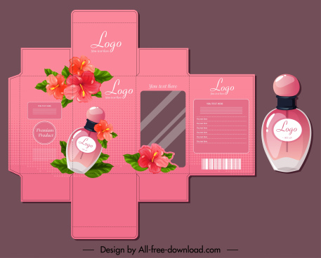 perfume package template flowers decor elegant pink