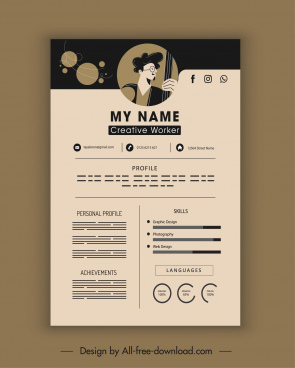 personal cv template dark plain flat decor