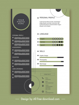 personal cv template elegant contrasted decor