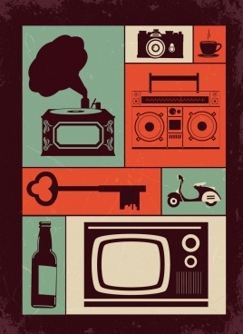 personal objects icons colored flat retro design