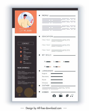 personal resume template elegant modern flat contrast decor