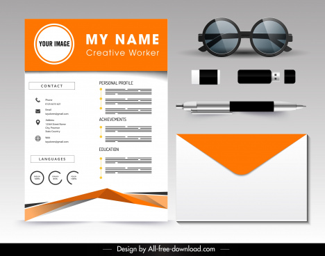 personal resume template modern bright orange white decor