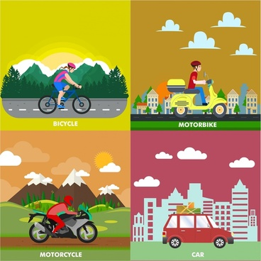 personal transportation concept vector in flat colors style
