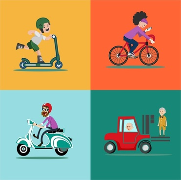 personal vehicles vector illustration in flat colored style
