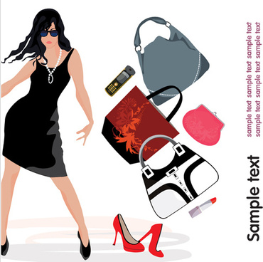 personality girls design elements vector