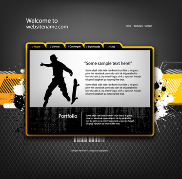 personality web site template design vector