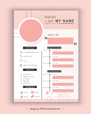 personnel cv template bright flat modern layout