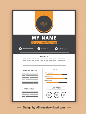 personnel cv template elegant contrast decor modern design