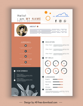 personnel cv template elegant modern flat decor