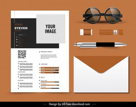 personnel cv template elegant plain contrast decor