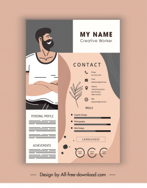 personnel cv template man sketch flat classic design