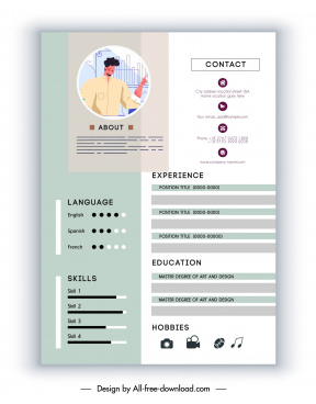 personnel resume template cartoon character sketch bright decor