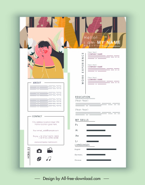 personnel resume template classic colorful leaves portrait decor