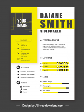 personnel resume template colored flat modern decor