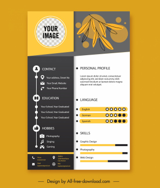 personnel resume template contrasted design handdrawn leaves decor