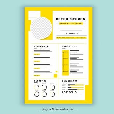 personnel resume template elegant bright yellow white design