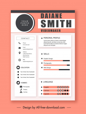 personnel resume template elegant classic decor